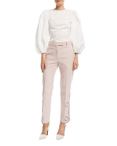 Straight-Leg Pants with Embroidered Hem and Matching Items