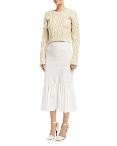 Cold-Shoulder Cable-Knit Racerback Sweater and Matching Items