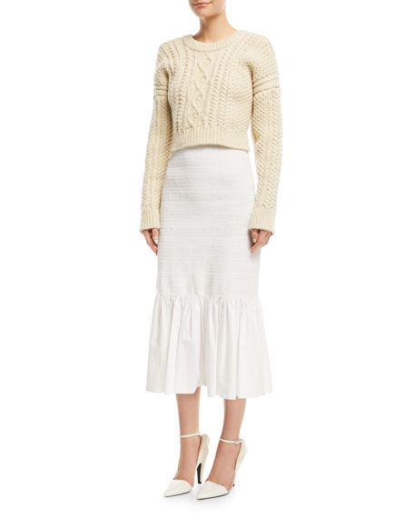 Fitted Cotton Midi Skirt