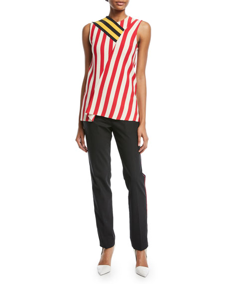 Straight-Leg Wool Pants with Side Stripe