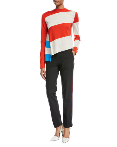 Straight-Leg Wool Pants with Side Stripe and Matching Items