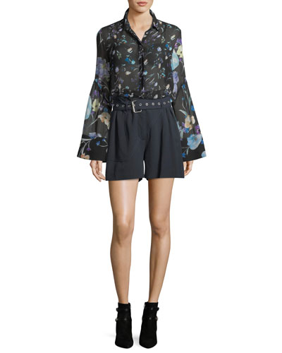 Bell-Sleeve Button-Down Floral-Print Silk Chiffon Blouse and Matching Items