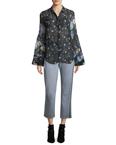 Bell-Sleeve Button-Down Floral-Print Silk Chiffon Blouse