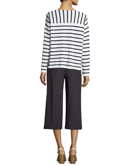 Organic Linen/Cotton Striped Top with Shoulder Buttons, Petite