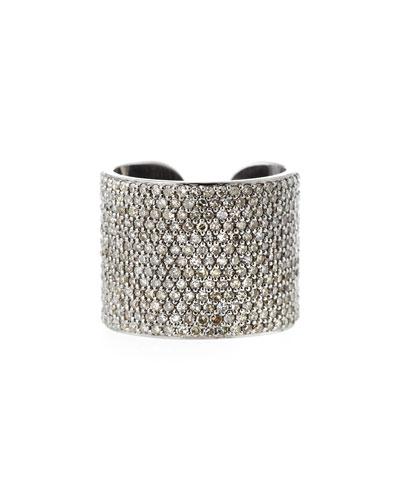 Pavé Diamond Cuff Ring, Size 8.5