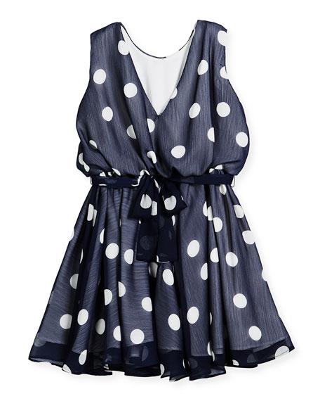 Sleeveless Polka-Dot Dress, Size 7-14