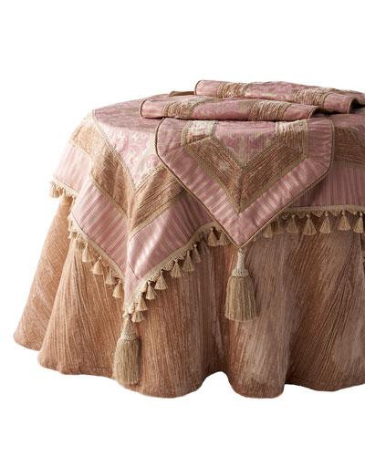 Crushed Velvet Blush Table Skirt, 108