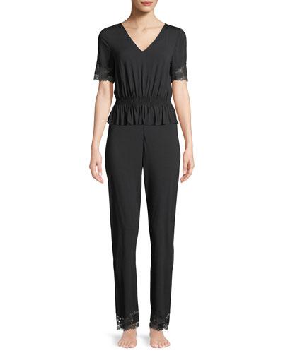 Lapis Lace-Trim Lounge Shirt and Matching Items