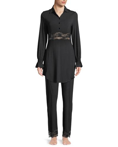 Lapis Lace-Cuff Lounge Pants and Matching Items