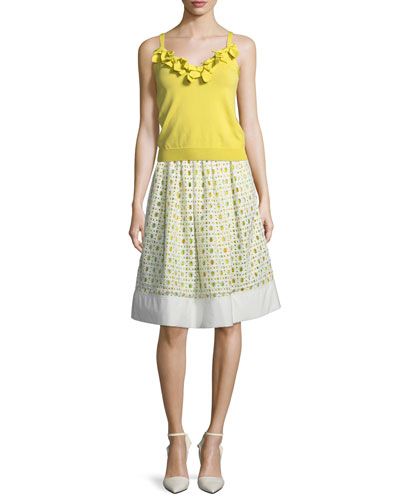 Lemon-Print Eyelet A-Line Skirt and Matching Items