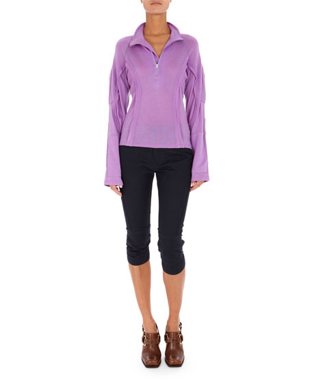 Long-Sleeve Partial-Zip Sweatshirt with Seaming Details