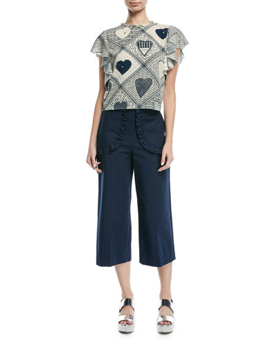 Heart-Print Stretch Crepe Flutter-Sleeve Top and Matching Items