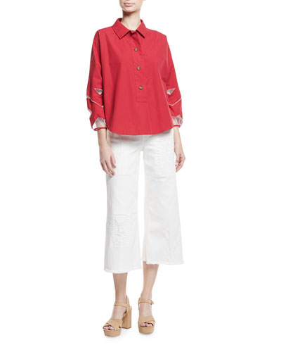 Poplin Tunic with Point d'Espirit Cutouts and Matching Items