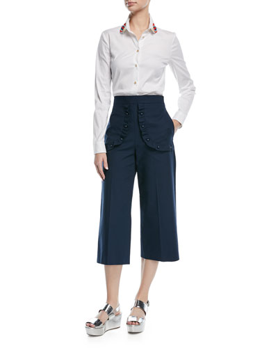 Pearly Ruffle Wide-Leg Cropped Pants and Matching Items