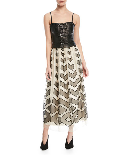 Point d'Esprit Long Skirt with Cutouts and Matching Items