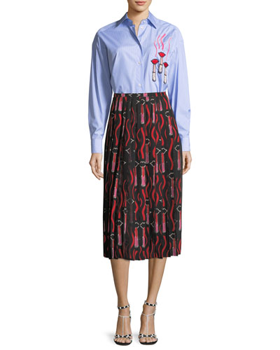 Striped Button-Front Poplin Blouse with Lipstick Wave Embroidery and Matching Items