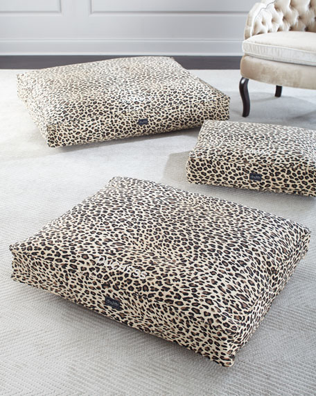 Small Leopard Cotton Canvas  Dog Bed