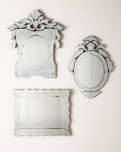 Ornate Shaped Venetian Mirror  and Matching Items