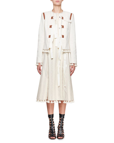 Avenue Jewel-Neck Tweed Cardigan Jacket with Pompom & Ribbon Trim and Matching Items