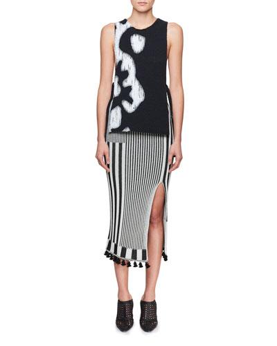 Spire High-Waist Graphic Stripe-Knit Midi Skirt and Matching Items