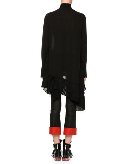 Long-Sleeve Silk Tunic Blouse w/ Asymmetric Pleated Hem