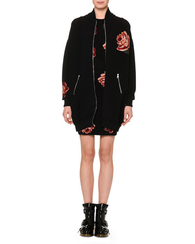 Tapestry Rose-Jacquard Zip-Front Oversized Bomber Jacket and Matching Items