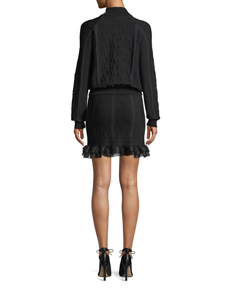 Cage Jacquard Zip-front Bomber Jacket with Ruffle Trim