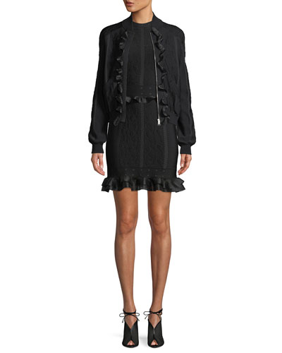 Cage Jacquard Zip-front Bomber Jacket with Ruffle Trim and Matching Items
