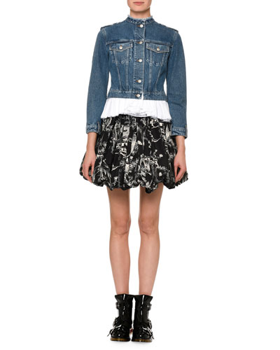 Bird-Sketch Pleated Bubble-Hem Mini Skirt and Matching Items