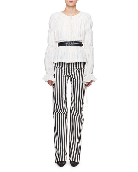 Goncourt Blouson-Sleeve Gathered Linen Blouse