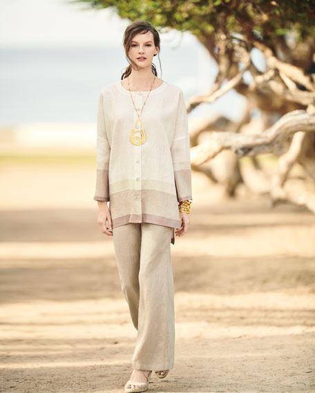 Bicolor-Trim Linen Boyfriend Tunic, Plus Size