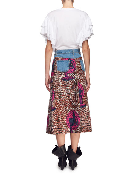 Short-Sleeve Ruffle Cotton T-Shirt