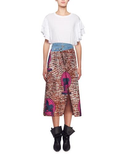 Short-Sleeve Ruffle Cotton T-Shirt and Matching Items