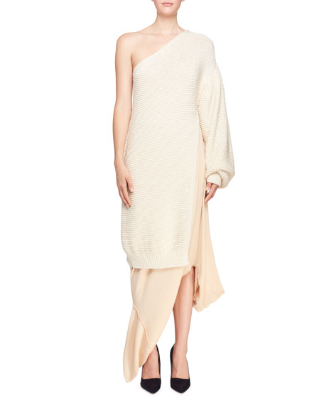 Shaker Knit One-Shoulder Side-Slit Dress