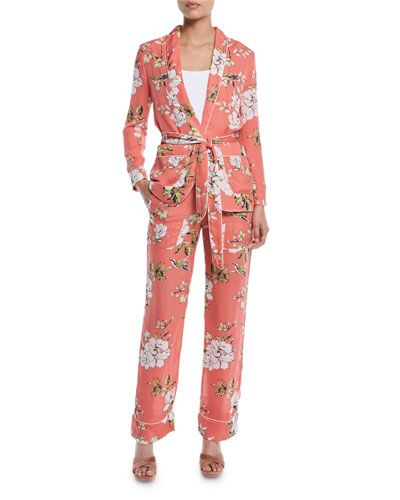 Daltona Silk Floral-Print Lounge Pants and Matching Items