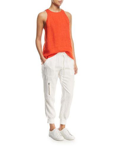 Dany Sleeveless Button-Back Linen Top and Matching Items