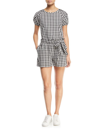 Cirila Short-Sleeve Gingham-Print Cotton Top and Matching Items