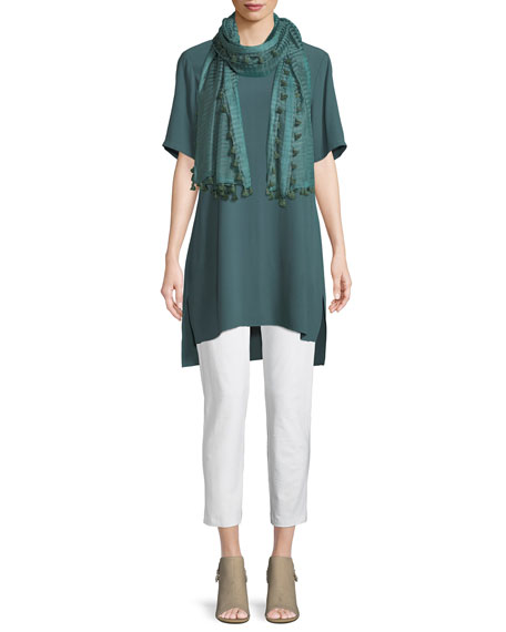 Silk Georgette High-Neck Long Tunic