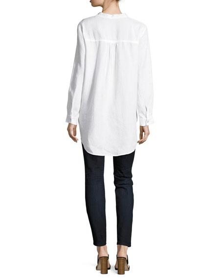 Organic Linen Mandarin-Collar Tunic Shirt, Petite