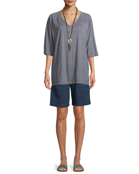 Half-Sleeve Striped Organic Linen Jersey Top