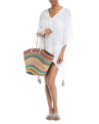 Nayara V-Neck Short Linen Gauze Kaftan and Matching Items