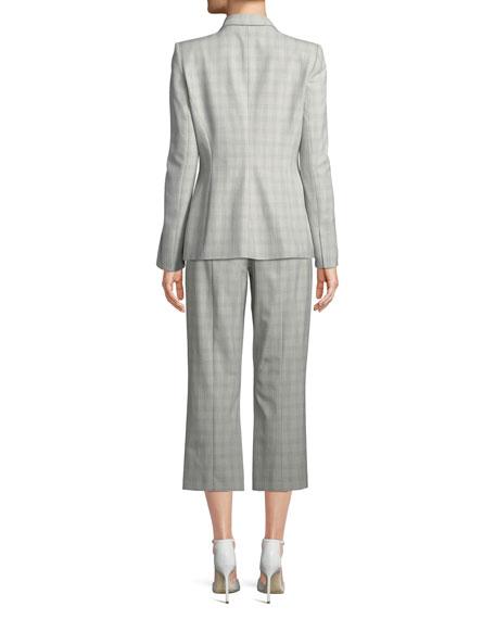 Allegra Micro-Plaid One-Button Jacket