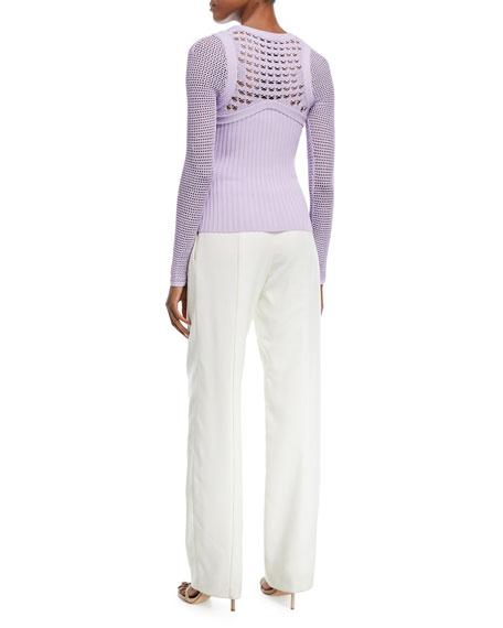 Round-Neck Textured Crochet Knit Top