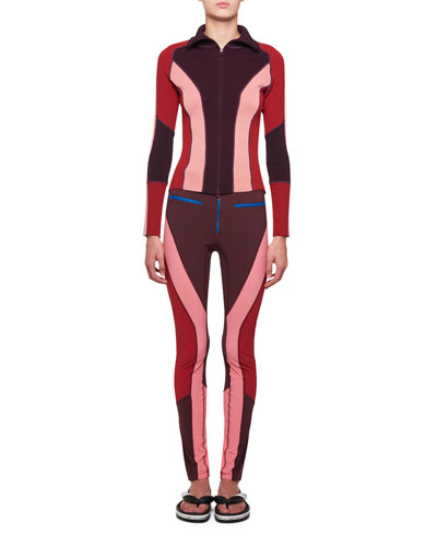 Happy Colorblocked Skinny Leather Pants with Zip-Fly and Matching Items