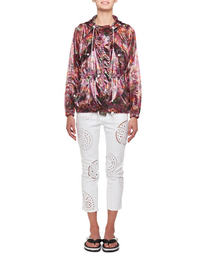Olaz Hawaiian-Print Sheer Pullover Hooded Anorak Jacket and Matching Items