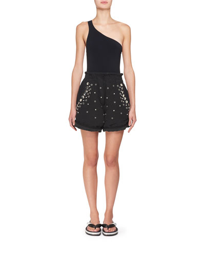 Paperbag-Waist Cotton Shorts with Studs & Grommets and Matching Items
