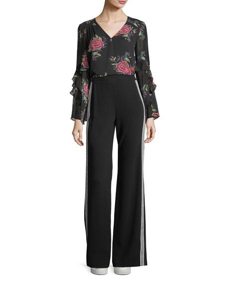 Margarita V-Neck Floral Silk Top