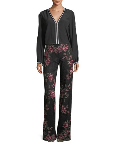 Bachata Wide-Leg Back-Zip Pants and Matching Items