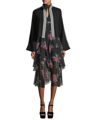 La Rosa Ruffled Silk Keyhole Dress and Matching Items