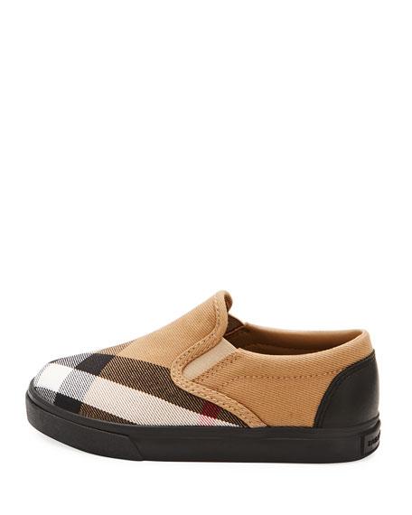 Linus Check Canvas Slip-On Sneaker, Toddler Sizes 7-10